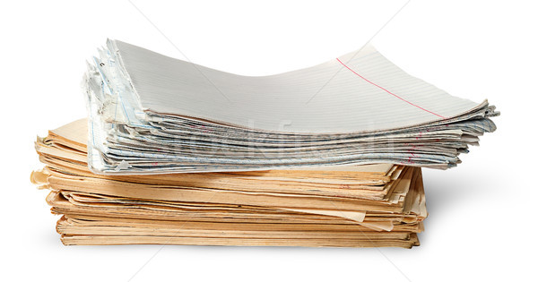 In front stack of old yellowed sheets of school notebooks Stock photo © Cipariss