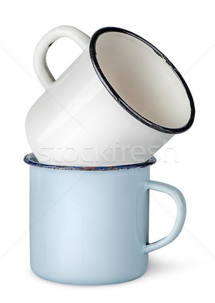 Kettő öreg egyéb izolált fehér kávé Stock fotó © Cipariss