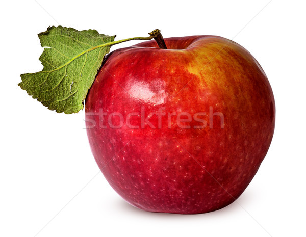 In front red ripe apple with green leaf Stock photo © Cipariss