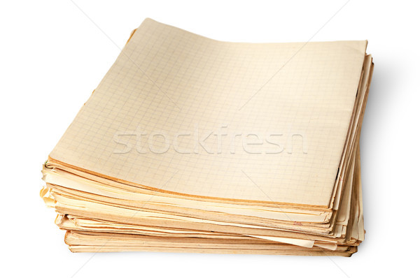 Stack of old yellowed sheets of school notebooks top view Stock photo © Cipariss