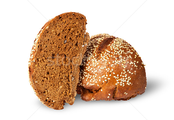 Two halves of rye bread with sesame seeds Stock photo © Cipariss