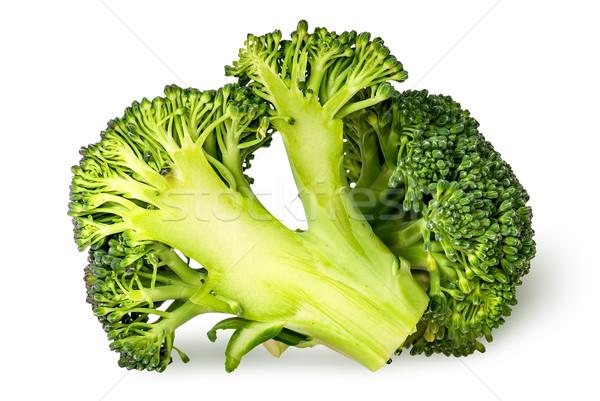 Közelkép egész fél brokkoli izolált fehér Stock fotó © Cipariss