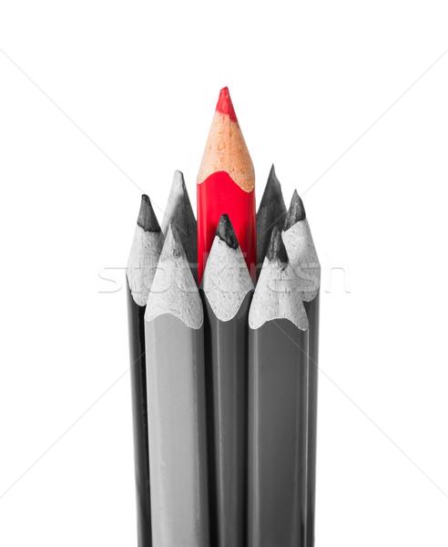 Kırmızı kalem siyah beyaz kalemler yalıtılmış beyaz Stok fotoğraf © Cipariss