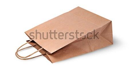 пусто открытых грубая оберточная бумага сумку продовольствие изолированный Сток-фото © Cipariss