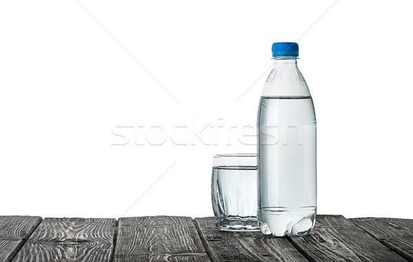 ストックフォト: プラスチック · ボトル · ガラス · 水 · 木製のテーブル · 孤立した