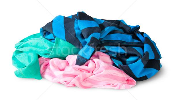 Stock fotó: Halom · színes · ruházat · izolált · fehér · divat
