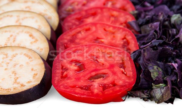 Patlıcan domates fesleğen yaprakları yalıtılmış Stok fotoğraf © Cipariss