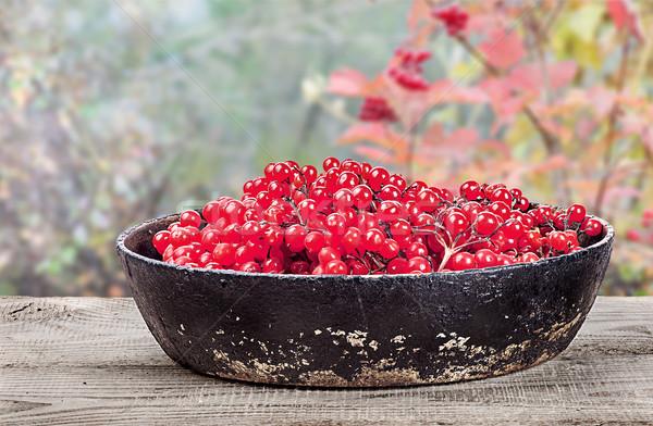 Serpenyő fa asztal homályos asztal piros fekete Stock fotó © Cipariss