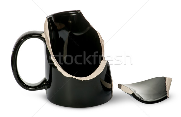 Broken black porcelain cup with one fragment Stock photo © Cipariss