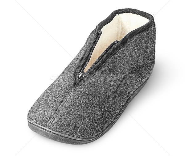 Comfortabel donkere grijs pantoffel geïsoleerd Stockfoto © Cipariss