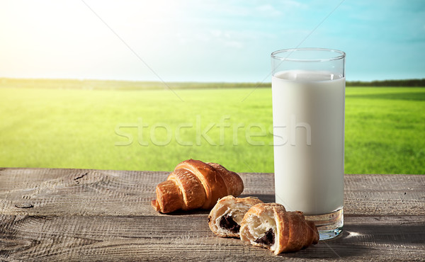Glass of milk on rustic table with croissants Stock photo © Cipariss