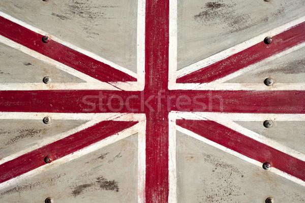 Fém Egyesült Királyság zászló festett fém textúra textúra Stock fotó © cla78