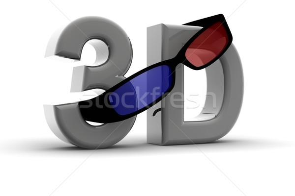 3d gözlük gözlük 3D vizyon 3d metin göz Stok fotoğraf © cla78