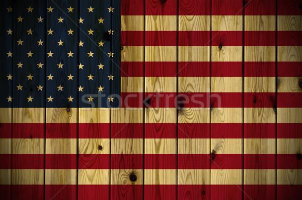 Fából készült USA zászló festett fal textúra Stock fotó © cla78