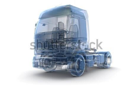 Quatro wireframe caminhões transporte isolado branco Foto stock © cla78