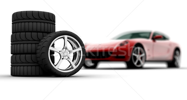 Kerekek piros autó négy izolált fehér Stock fotó © cla78