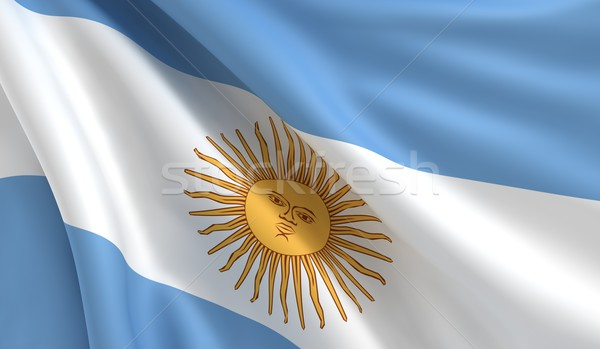 Pavillon Argentine vent ciel blanche couleurs Photo stock © cla78