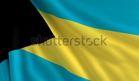 Zászló Bahamák szél textúra háttér kék Stock fotó © cla78