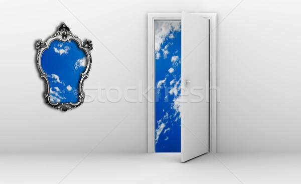Open deur frame hemel metaal blauwe hemel huis Stockfoto © cla78