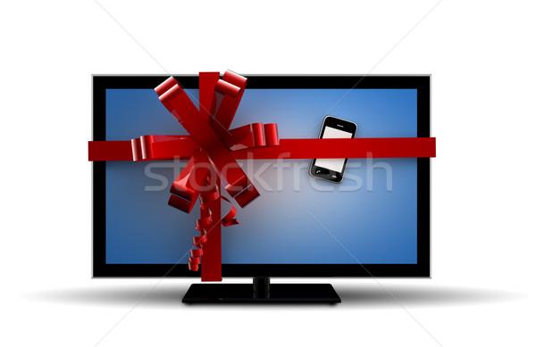 телевизор телефон подарок интернет телефон контакт Сток-фото © cla78