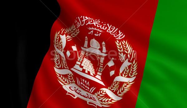Flagge Afghanistan Wind Textur Hintergrund rot Stock foto © cla78