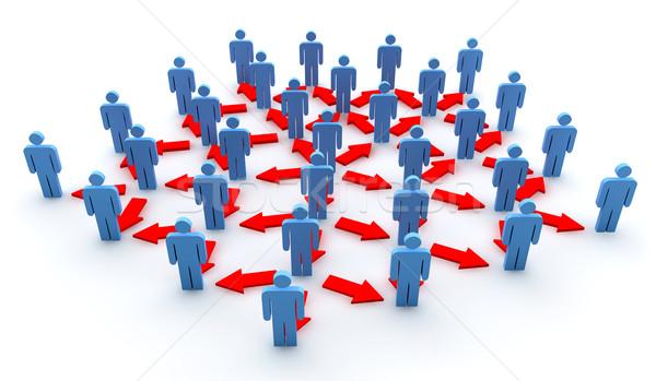 Business network wiele niebieski mężczyzn czerwony Zdjęcia stock © cla78