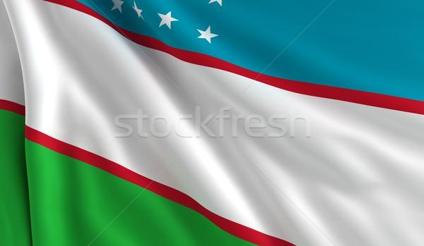 Bayrak Özbekistan rüzgâr doku arka plan yeşil Stok fotoğraf © cla78
