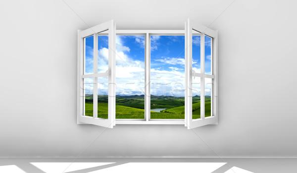 Open venster witte geïsoleerd muur huis Stockfoto © cla78