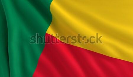 Bandiera Benin vento texture sfondo rosso Foto d'archivio © cla78