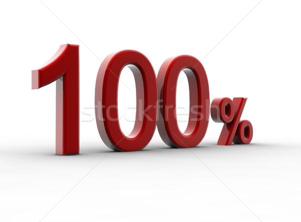 Сток-фото: красный · 100 · процент · изолированный · белый · металл