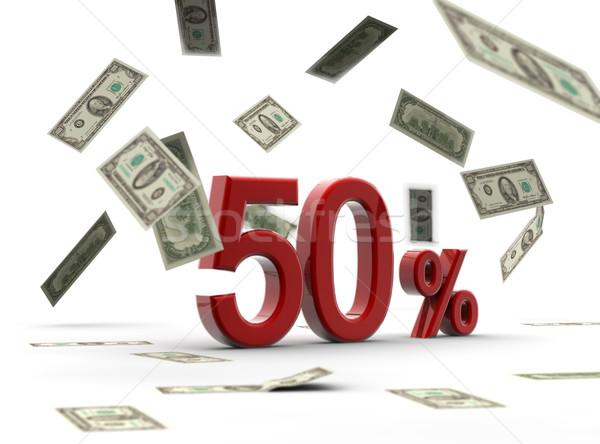 красный 50 процент деньги изолированный белый Сток-фото © cla78