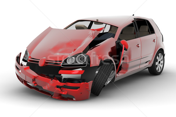 Photo stock: Voiture · accident · rouge · isolé · blanche · corps