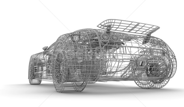 Drótváz autó fehér sport absztrakt modell Stock fotó © cla78