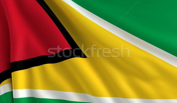 Vlag Guyana wind textuur achtergrond groene Stockfoto © cla78
