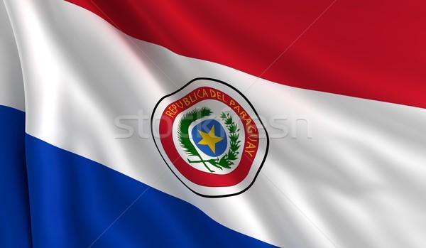 Banderą Paragwaj wiatr tekstury tle star Zdjęcia stock © cla78