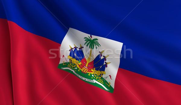 Bayrak Haiti rüzgâr doku arka plan kırmızı Stok fotoğraf © cla78