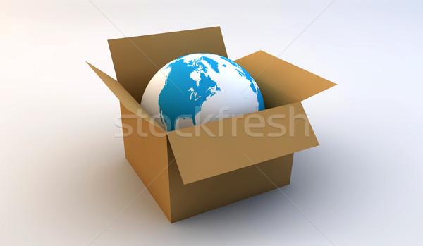 Wereld witte Blauw abstract technologie Stockfoto © cla78