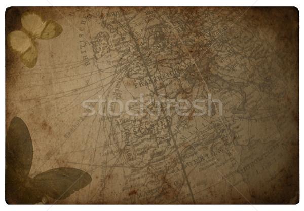 Vecchia carta mappa due farfalla carta sfondo Foto d'archivio © cla78