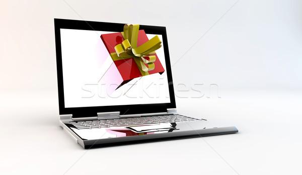 Laptop dom negócio casamento feliz aniversário Foto stock © cla78