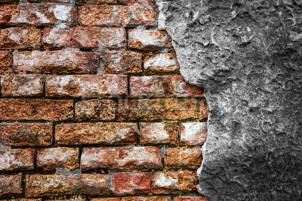 Brick wall with cracked concrete Stock photo © cla78