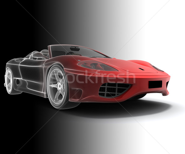 Wireframe carro modelo arte indústria vermelho Foto stock © cla78