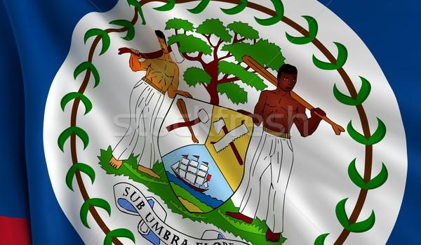 Stock fotó: Zászló · Belize · szél · textúra · háttér · fehér