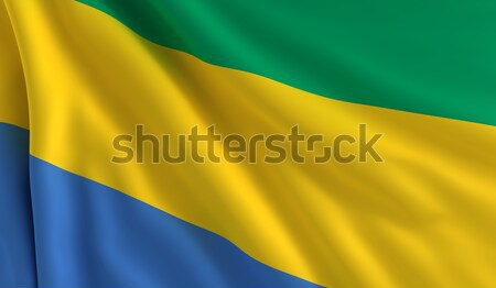 Bandera Gabón viento textura fondo azul Foto stock © cla78