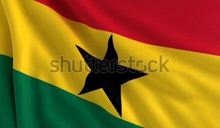Bandera Ghana viento textura fondo rojo Foto stock © cla78