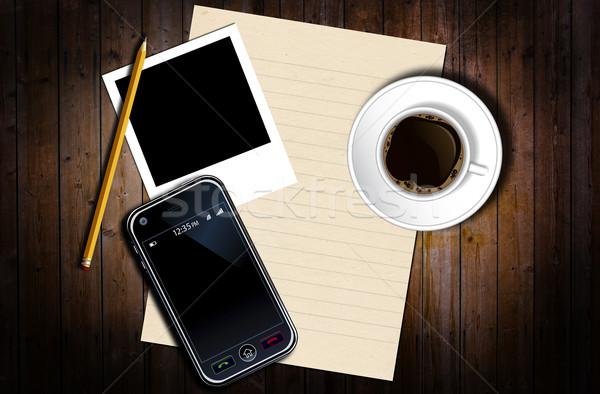 Asztal munka grunge ceruza kávé papír Stock fotó © cla78