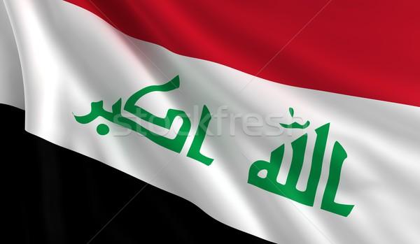 Vlag Irak wind textuur achtergrond zwarte Stockfoto © cla78
