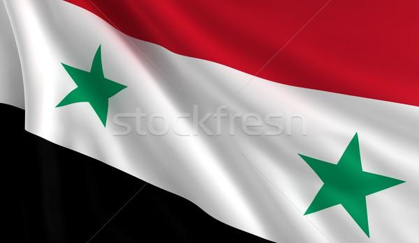 Bandeira Síria vento textura fundo estrela Foto stock © cla78