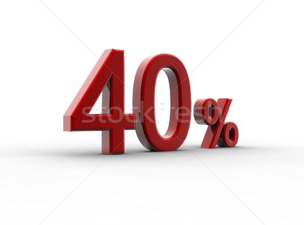 Rojo 40 porcentaje aislado blanco metal Foto stock © cla78