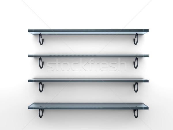 Four glass shelves Stock photo © cla78