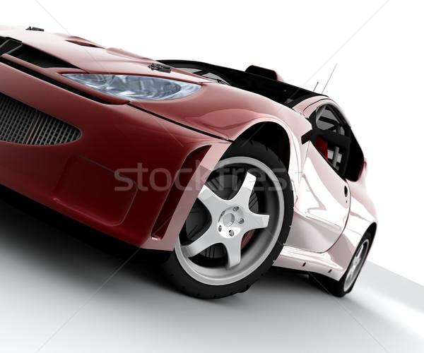 красный автомобилей митинга спорт изолированный белый Сток-фото © cla78
